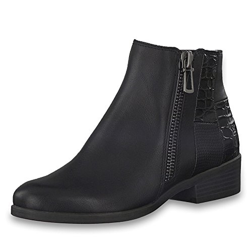 Marco Tozzi Black Antic Flat Ankle Boot 39 QLlcMy