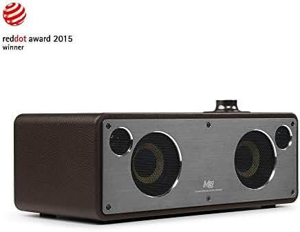 GGMM M3 Retro Wi-Fi Bluetooth Wireless Leather Speaker for Music Streaming   Featuring Powerful 40W Audio Driver, Enhanced Bass, Multi-Room Play, Airplay, DLNA, Spotify, iHeart radio (Coffee)
