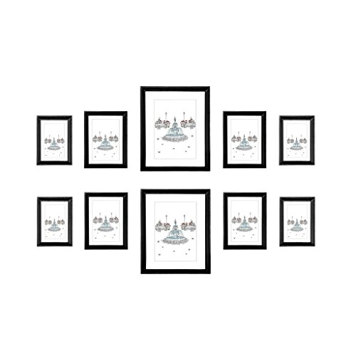 EDGEWOOD Ridgewood Multi pack wall picture frame set 10 pieces. Includes: two 8x10 inch, four 5x7 inch, four 4x6 inch Black