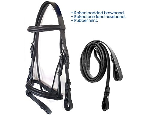 Tack Makers Mini/Pony / Cob/Full / Draft English Premium Leather Bridles with Web Reins, Black (Pony)