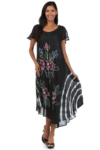 Sakkas 615D Embroidered Painted Floral Cap Sleeve Cotton Dress - Black / One Size