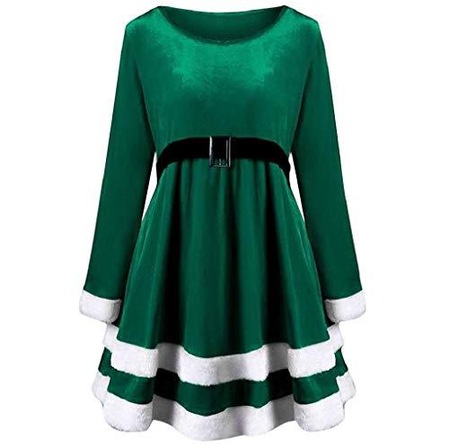 - KASAAS Womens Merry Christmas Velvet Stripes Long Sleeve O-Neck Red Festival Casual Dress(8,Green)