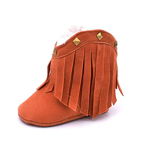 (SANYALEISHEN New Baby Boots-Toddler Soft Sole Tassel Rivet Snow Shoes (Brown, 13))