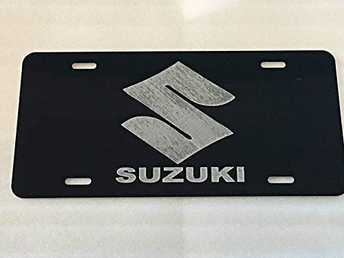 (Eletina Toy Suzuki Logo Car Tag On Black Aluminum License Plate)