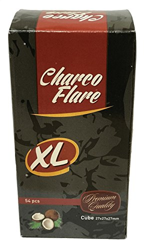 54 Pieces Charco Flare Hookah Natural Coals Hooka Shisha Coconut Charcoal XL 27mm (Flare Four Burner)