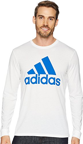 adidas Men's Badge of Sport Classic long-sleeve Tee, White/Blue, Large (Adidas Long Sleeve Shirt)