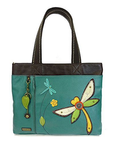 Chala Big Tote, Faux Leather, Canvas Handles, Animal Prints (Dragonfly-Dark Turquoise)