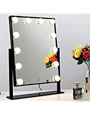 Chende Dimmable Vanity Mirror with LED Light Bulbs, Hollywood Lighted Makeup Mirror for Vanity Desk, LED Standing Mirror in Beauty Bedroom, 3 Colors Lighting Setting
