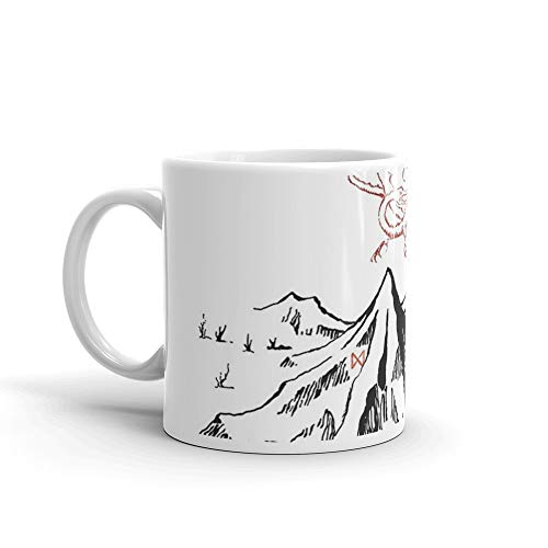 Mug Fan 11 Oz White - Red Dragon Above A Single Solitary Peak - Fan Art Mug 11 Oz White Ceramic