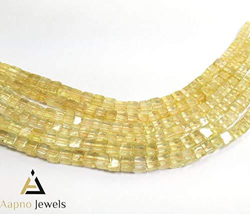 1 Strand Natural Light Citrine Loose Beads Strand, 5-7mm 8 Inch Smooth Cube Box Light Citrine Beads, Light Citrine Beads Necklace, Jewelry Making Light Citrine Beads, Knotted Light Citrine Necklace