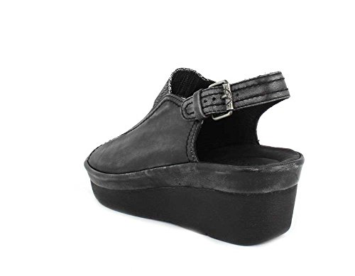 Bussola Mujeres Grace Wedge Sandal Wash Nappa Black