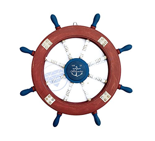 - Nagina International Atlantic Blue Anchor Nautical Antique Rusted Iron Bolted Accent Ship Wheel | Maritime Decor (30 Inches)