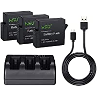 HSU Rechargeable Battery (3 packs) and Triple Battery Charger for GoPro HERO 5 Black with USB Cable (Rechargeable Battery 3 packs)