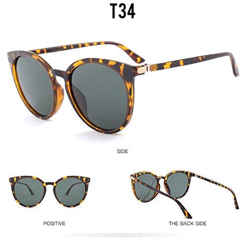de nuevo marco de gafas vintage UV400 gran con gafas T34 HD mujeres polarizado de de lente rayas madera diseño de sol reflectante PC gato moda para ojo hombres protección ATNKE tamaño w1qgEfX