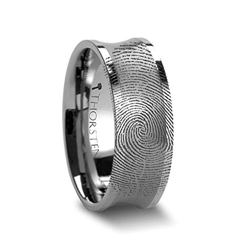Thorsten | Tungsten Rings for Men | Tungsten | Comfort Fit | Wedding Ring Band with Fingerprint Ring Engraved Concave - 8mm