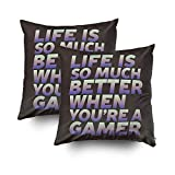 Musesh Pack of 2 Funny Life Quote for Gamer and Gaming Geek Cushions Case Throw Pillow Cover for Sofa Home Decorative Pillowslip Gift Ideas Household Pillowcase Zippered Pillow Covers 20X20Inch