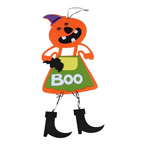 LUOEM Halloween Scary Decoration Non-Woven Hanging Pumpkin Dolls Party Supplies (Orange) -