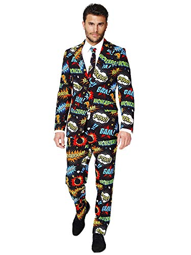 Opposuits Badaboom Suit For Men Comes With Jacket, Pants and Tie In Funny Comic Book Print-100%, Badaboom, 38]()