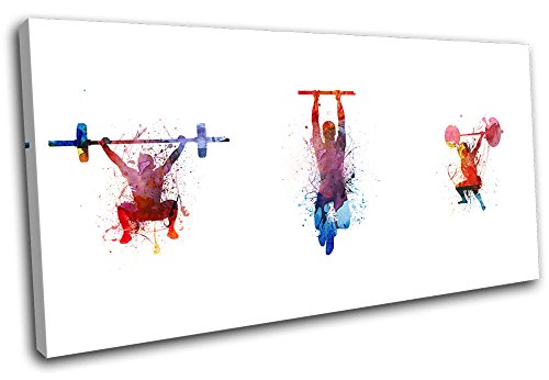 Bold Bloc Design - Crossfit Gym Fitness Lifting Sports 120x60cm SINGLE Canvas Art Print Box Framed Picture Wall Hanging - Hand Made In The UK - Framed And Ready To Hang by Bold Bloc Design