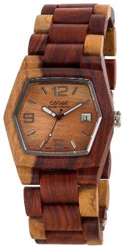 Tense Wood Watch Mens Inlaid Multicolor w/ Date Window G8300I LF (Light Face)
