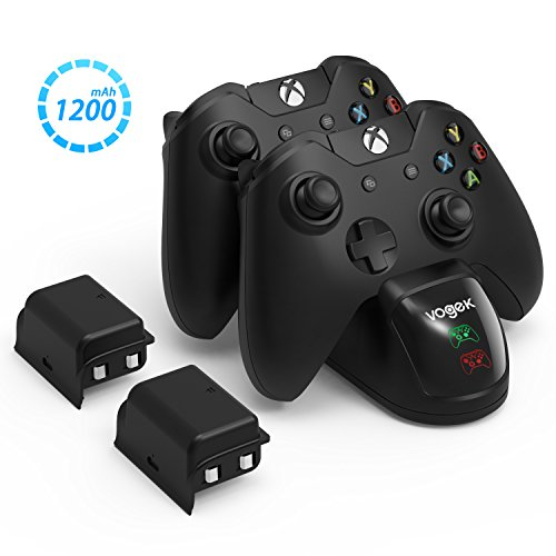 VOGEK Xbox One Controller Charger, 2 x 1200mAh Rechargeable Battery Packs [Dual Slot] High Speed Docking/Charging Station Wireless Controllers Charge Kit (Standard and Elite Compatible) (Best Double A Batteries For Xbox Controller)