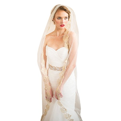 Veil Color (Champagne Color Wedding Veil Lace Edge Chapel Length Veils Wedding Accessories Custom(Champagne))
