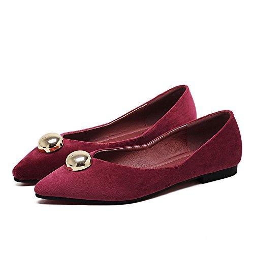 Xue Qiqi Court Schuhe Velvet wies wies wies Flache Flache Metallschuhe des flachen Mundes dekorative Flache Flache Schwarze Schuhe der Schuhe 38 Weinrot auf 904432