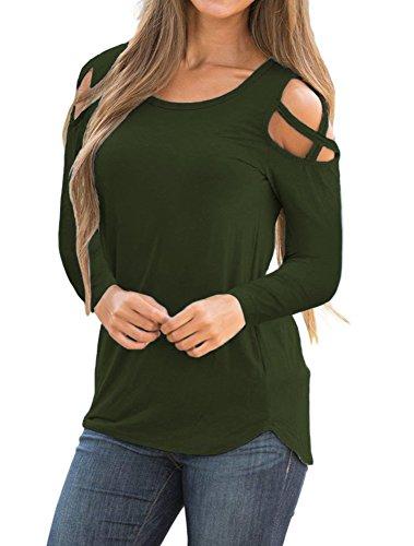 Sarin Mathews Womens Strappy Cold Shoulder Long Sleeve Tunic Tops Casual Loose Basic T Shirts ArmyGreen XL by Sarin Mathews
