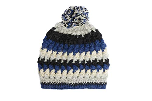 Hand Knit Wool Crochet Fleece Lined Beanie Pom Pom Hat Blue ()