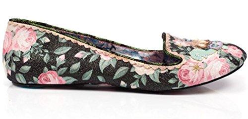 Irregular Choice Tetsudo Noir Floral Femmes Flats Chaussure