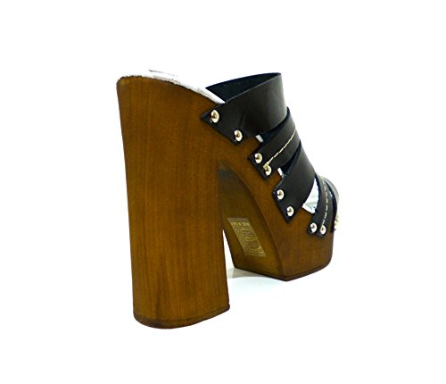 Cafènoir NB103 sandalo sabot zoccolo fasciato nero con tacco alto n° 38