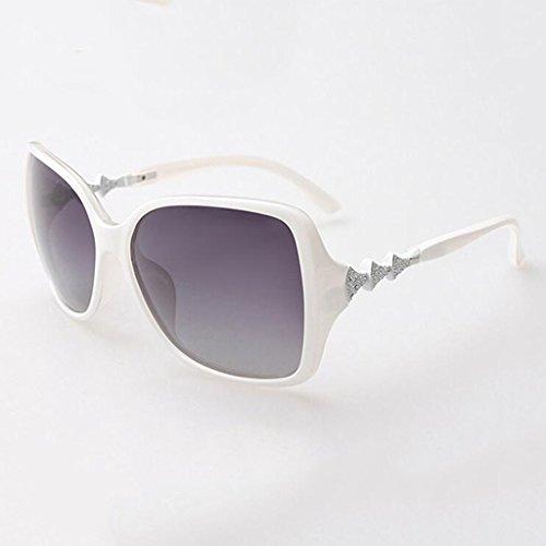 de Moda UV C de Gafas de Sol progressive Gafas de Sol Cara KAI white Sol LE de Protección Retro Polarizador Redonda Sol Femenino Gafas Gafas Color Grey de Frame; Femenina Progressive frame; White Marea Nuevas grey C tpRPwS