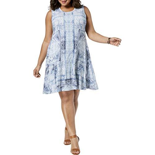 (Style & Co. Womens Plus Printed Knee-Length Tunic Dress Blue 3X)