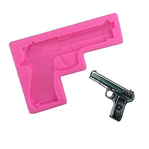 Fashion Hot Sale 1PCS Gun Toy Shape Silicone Cake Molds Bakeware Decorating Cartoon cakes mold DIY Soap Molds for kids ()