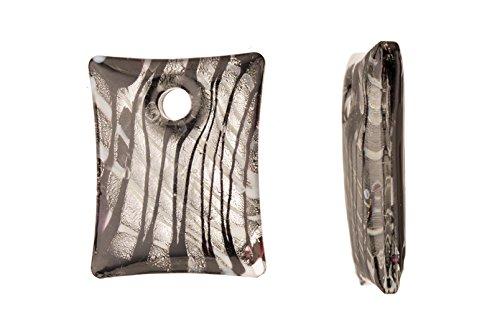 Silver-Foil Black Base Fancy Rectangle Lampwork Glass Pendant 35x44mm