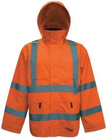 Professional Journeyman 300D Trilobal Rip Stop Safety Coat with Hood Color: Fluorescent Orange, Size: X-Large