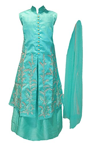 Zaffron Girls' Designer Lehenga Sets 3 Pieces Indian Part Dress Set 3 to 13 years sizes (34 (10-11 years), Turquoise) by Zaffron Shop