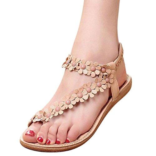 Women Sandals,Duseedik Clearance!!Summer T-Strap Flip Flops Flower Beaded Elastic Slip on Flat Sandals Bohemia Beaded Flat Shoes for Dress Beach (Khaki, US:9.5(CN:40))