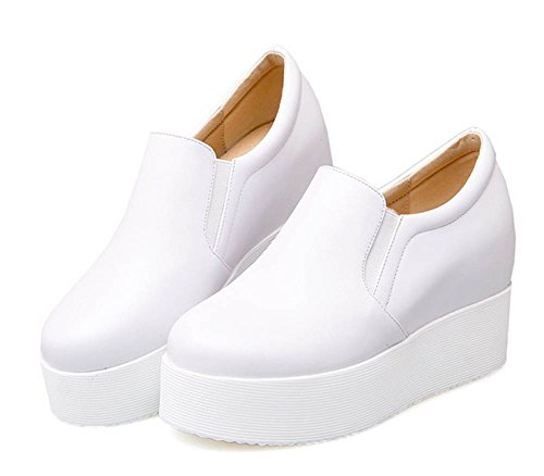 Aisun Womens Comfort Round Toe Slip On Elevator High Heeled Platform Loafers Wedge Sneakers Shoes White YjUeL