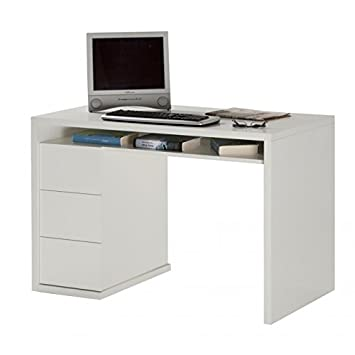 Composad Bureau A Trois Tiroirs Laque Blanc Brillant 110 X 60 X H75