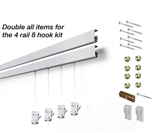 8 Hanging Components STAS Cliprail Pro Picture Hanging System Kit- Heavy Duty Track and Art Hanging Gallery Kit for Home, Office or Public Space (4 Rails 8 Hooks and Cords, Matte Silver Rails) by Stas Picture Hanging Systems (Image #3)