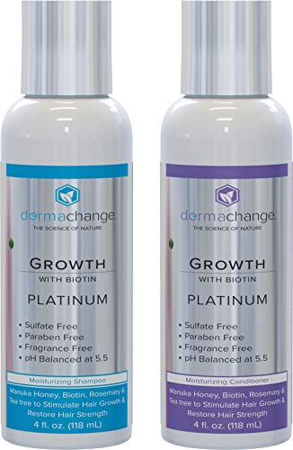 Hair Growth Organic Shampoo and Conditioner Set - With Biotin and Argan Oil - Supports Regrowth and Prevents Hair Loss - Dry Damaged and Color-Treated Hair - Sulfate and Paraben Free (4oz)
