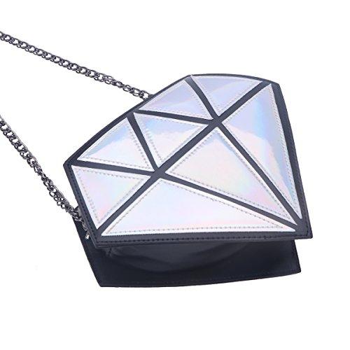 OULII Hologramm Diamond Kleine Umhängetaschen PU Leder Crossbody Chain Bag für Damen (Silber)