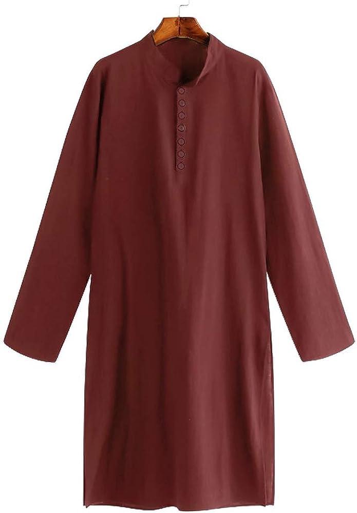 Taoliyuan Mens Kurta Henley Shirts Kaftan Thobe Longline T Shirts Long Sleeve Light Plain Gown Nightshirts Pajama