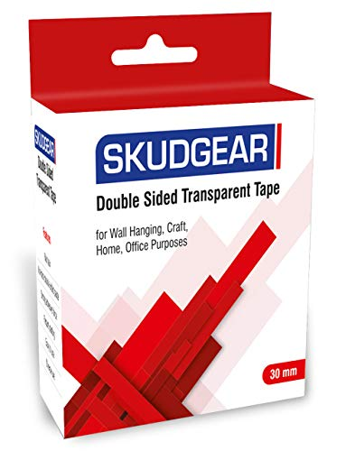 SKUDGEAR 30mm Double Sided Transparent Tape for Wall Hanging, Carpet, Craft, Home, Office Purposes (Red Cover)