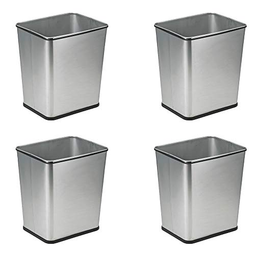 (Polder 7 Gallon Under Counter Trash Can Recycle Bin, Stainless Steel (4 Pack))