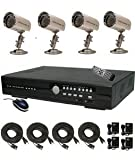 CIB R401H60W500G8753 4CH Security Surveillance DVR Four CCD Bullet Cameras KI…, Best Gadgets