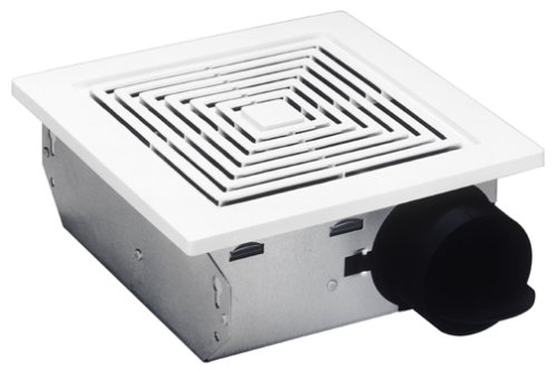 (Broan Ventilation Fan, White Square Ceiling or Wall-Mount Exhaust Fan, 4.0 Sones, 50 CFM)