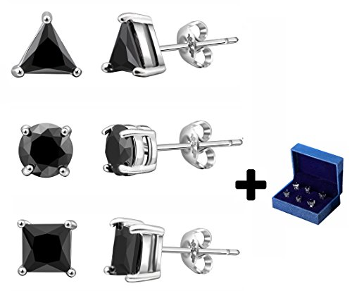 Silver Stud Earrings Black CZ Men Women 6mm Geometric Shape 3 Pairs With Gift Box (Dark - Shape Perfect For Men
