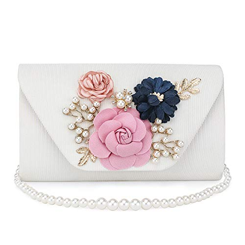 Clutch Purse, Handmade Floral Evening Bag White Envelope Purse With Strap Pearl Chain Multipurpose Handbag for Women Ladies's Party